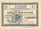 FRANZÖSISCHE NOTSCHEINE  Lesdins (02). Commune. Billet. S.Q.G., 2 francs 8.8.1916