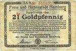 DEUTSCHLAND - NOTGELDSCHEINE (1914-1923) A - J  Hamburg. Finanzdeputation der Freien und Hansestadt. Billet. 21 Goldpfennig 7.11