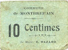 FRANZÖSISCHE NOTSCHEINE Montbrehain (02). Commune. Billet. 10 centime... 20,00 EUR  zzgl. 7,00 EUR Versand
