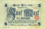 DEUTSCHLAND - NOTGELDSCHEINE (1914-1923) A - J  Cologne. Stadt. Billet. 5 mark 18.10.1918, série (Reihe) A I