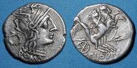 RÖMISCHE REPUBLIK  République romaine. T. Cloelius (vers 128 av. J-C). Denier