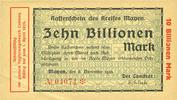 DEUTSCHLAND - NOTGELDSCHEINE (1914-1923) K -Z  Mayen, Kreis, Emission des séparatistes, billet, 10 billions mk