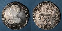 FRANZÖSISCHE KÖNIGLICHE MÜNZEN  Charles IX (1560-1574). Teston, 1er type. 1562K. Bordeaux. Légende fautive !