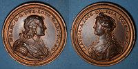LOTHRINGEN  Lorraine. Nicolas François (1634) et Claude de Lorraine. Médaille en bronze