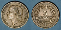 FRANZÖSISCHE MODERNE MÜNZEN  3e république (1870-1940), 5 francs Lavrillier bronze d'aluminium 1939