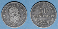 1863 M EUROPE Italie. Victor Emmanuel II (1861-78). 50 centésimi 1863M... 10,00 EUR  +  7,00 EUR shipping