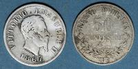 1867 M EUROPE Italie. Victor Emmanuel II (1861-78). 50 centésimi 1867M... 8,00 EUR  +  7,00 EUR shipping