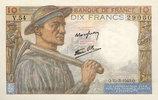 BANKNOTEN DER BANQUE DE FRANCE  Banque de France. Billet. 10 francs mineur, 25.3.1943