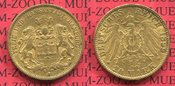 20 Mark Gold 1899 Hamburg, German Empire Free City of Stadtwappen Goldmünze sehr schön +