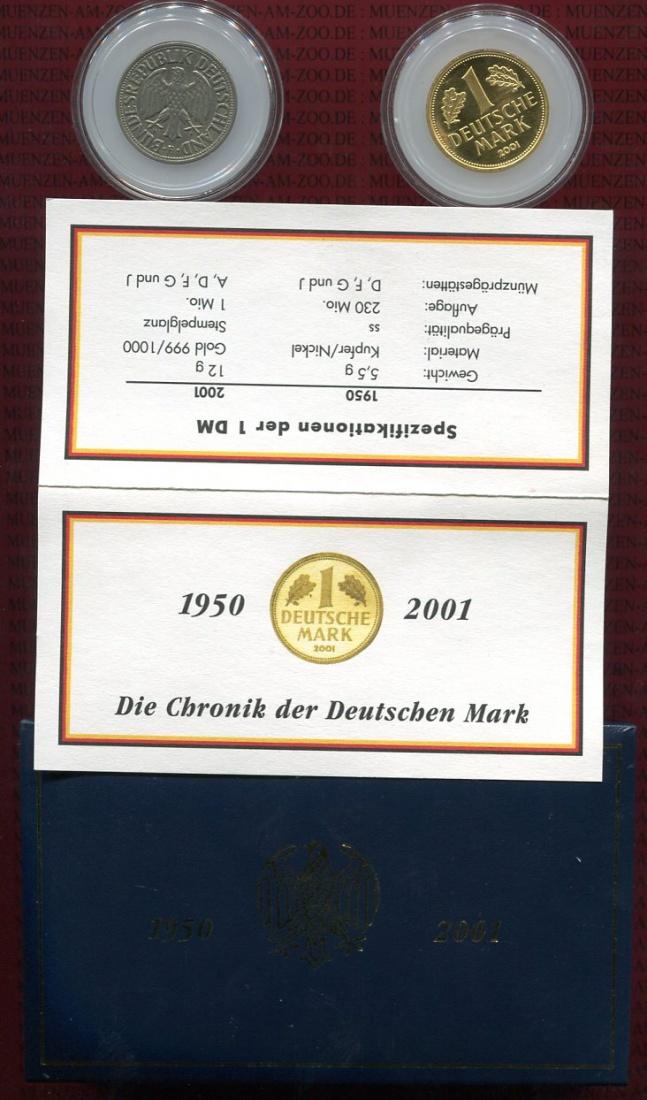 1 dm gold mark 1 dm 1950 f 2001 f bundesrepublik. Black Bedroom Furniture Sets. Home Design Ideas