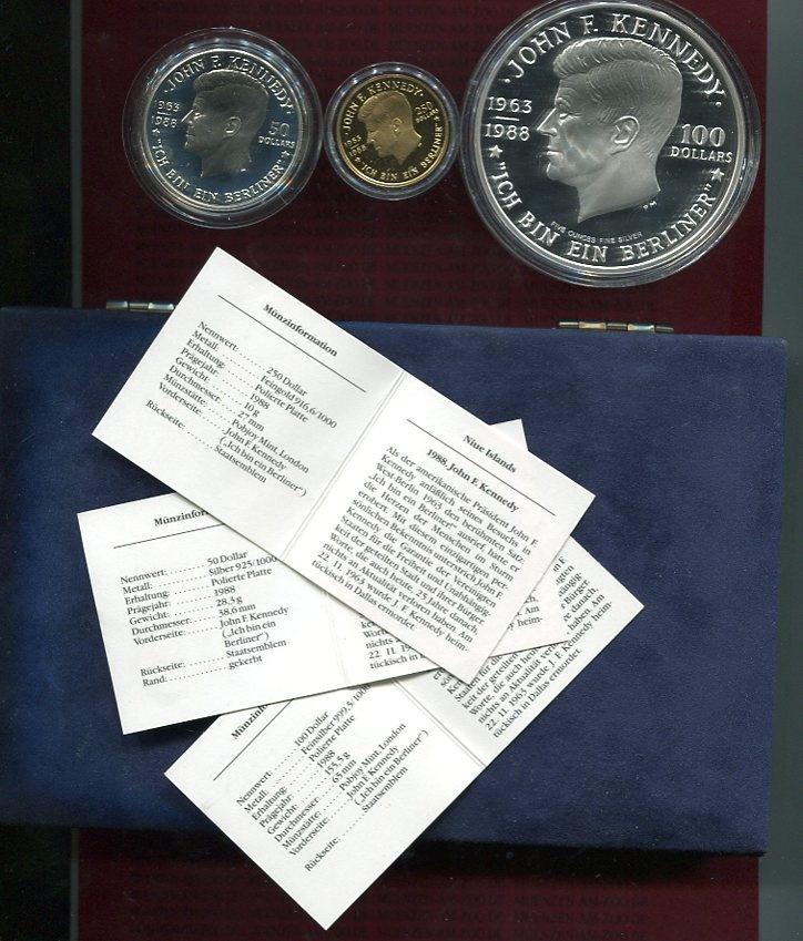 Satz 50 U 100 Und 250 Dollars 1988 Niue Niue Satz 1988 John F