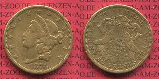 20 Dollars Goldmünze Double Eagle 1876 USA Liberty, Frauenkopf 1876 CC, Typ II Carson City sehr schön
