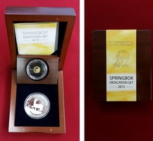 1000 Francs + 3000 Francs CFA Set 2015 Gabun Gold und Silber Springbok Dedication Set, gewidmet dem Papst Johannes Paul II. Polierte Platte mit OVP (Holzbox, Zertifikat)