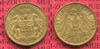 20 Mark Gold 1899 Hamburg, German Empire Free City of Stadtwappen Goldmünze sehr schön +