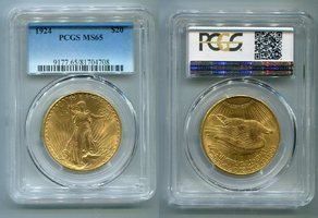 20 Dollars St. Gaudens Double Eagle 1924 USA St. Gaudens Typ Double Eagle PCGS zertifiziert MS 65