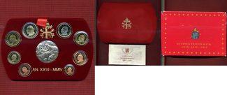 Kursmünzensatz KMS 1 Cent - 2 Euro 2004 Vatikan Papst Johannes Paul II. KMS + Silbermedaille Polierte Platte mit Box, Zert, Schuber OVP