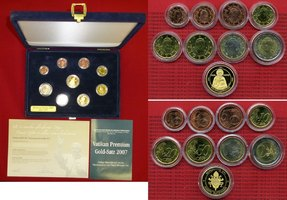 Euro Premium Satz mit Goldmedaille 2007 Vatikan, Vatican Vatikan Euro Premium Satz 2007 mit Goldmedaille 6,22 g Stgl. mit Box, und Zertifikat