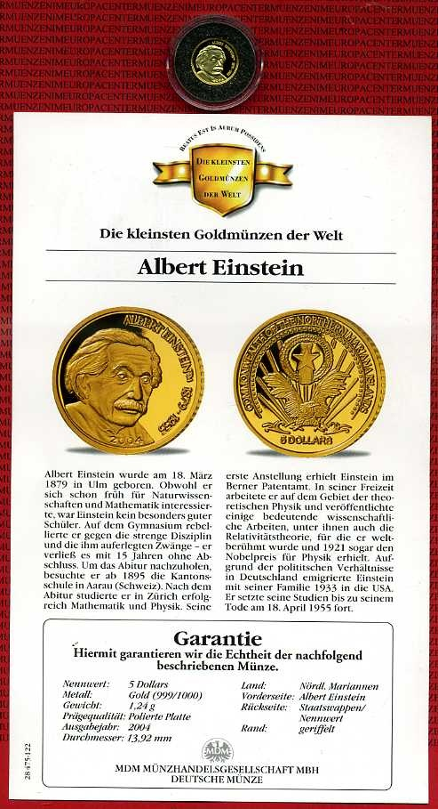 5 Dollars 125 Unze Goldmünze 2004 Marianen Inseln Northern Mariana