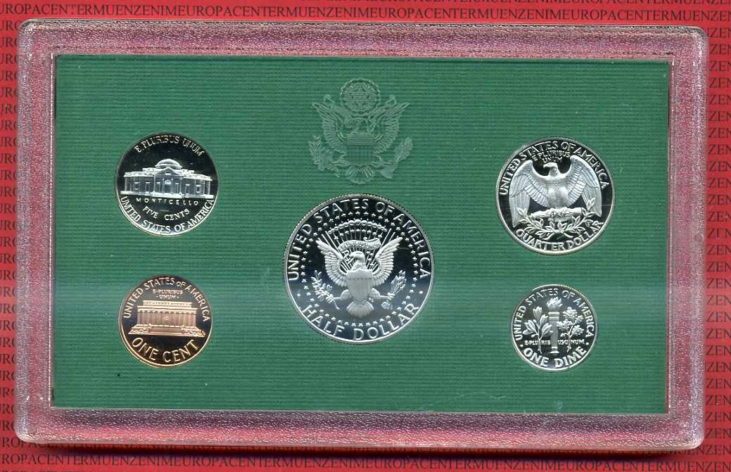 kursm nzensatz kms 1 cent halfdollar 1995 usa usa 1995 mint proof coin set 5 m nzen 1 cent. Black Bedroom Furniture Sets. Home Design Ideas