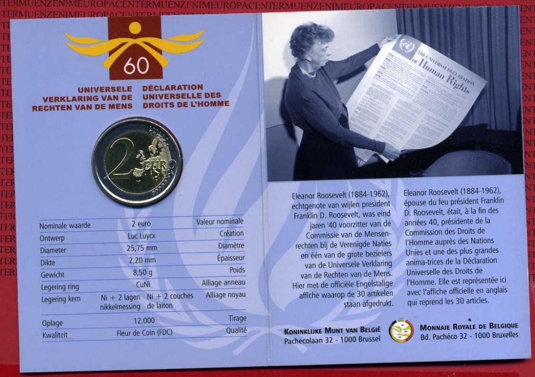 2 Euro Gedenkmünze 2008 Belgien Belgium 60 Jubiläum Erklärung Der