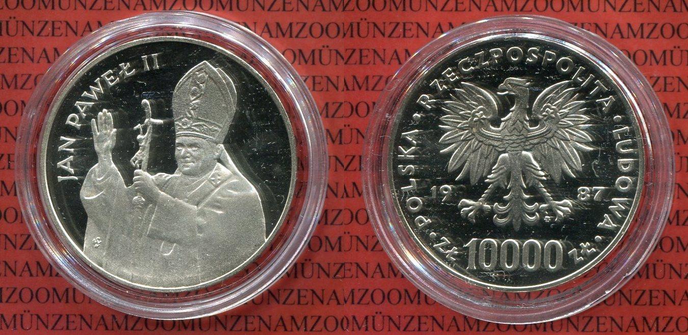 10000 Zloty Silbermünze 1987 Polen Poland Polen 10000 Zloty 1987
