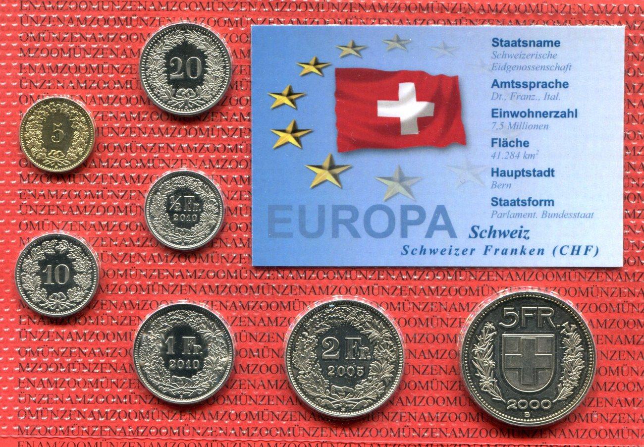 Chf Kursmünzensatz In Folie Div Schweiz Suisse Switzerland Schweiz