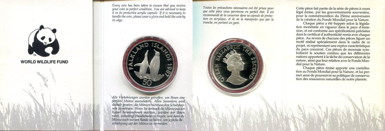 50 Pence 1987 Falkland Islands Falkland Islands Silber Gedenkmünze