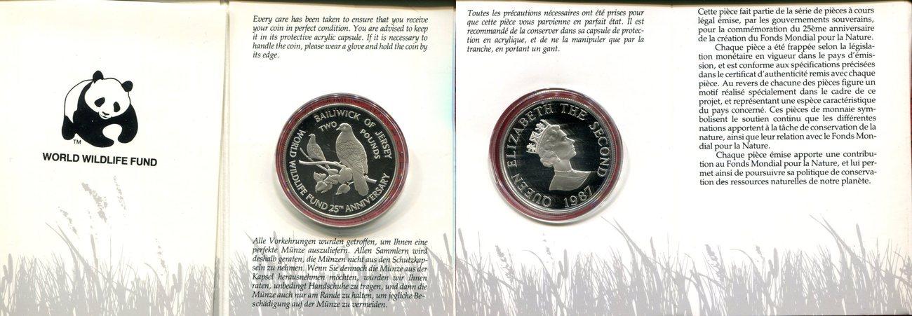2 Pounds 2 Pfund 1987 Jersey Jersey Silber Gedenkmünze 25 Jahre Wwf