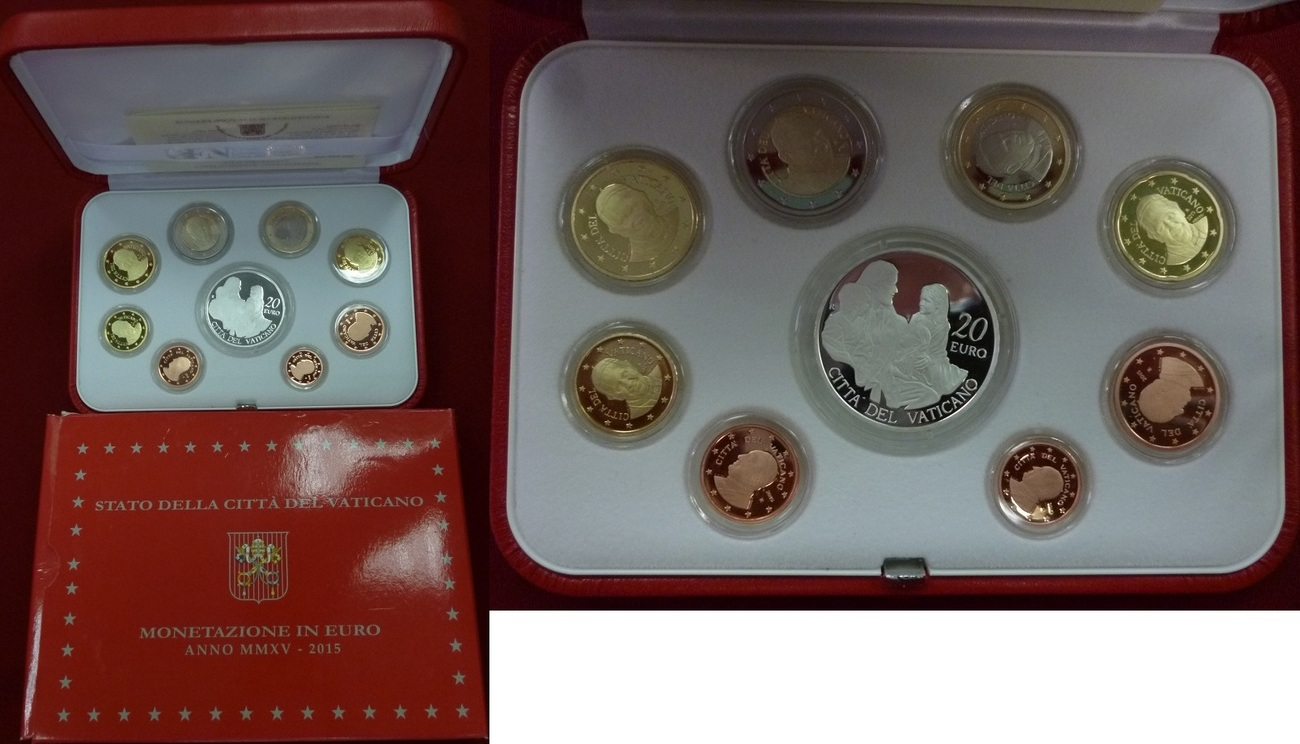 Euro Kursmünzensatz Offiziell 2388 Euro 2015 Vatikan Papst