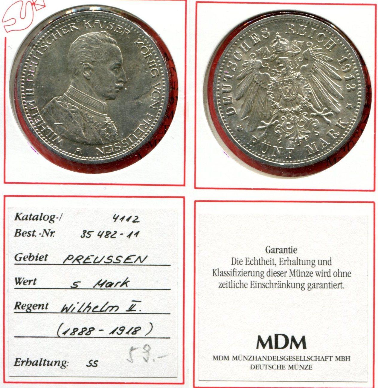 5 Mark Silber 1913 Brandenburg Preußen Deutsches Kaiserreich