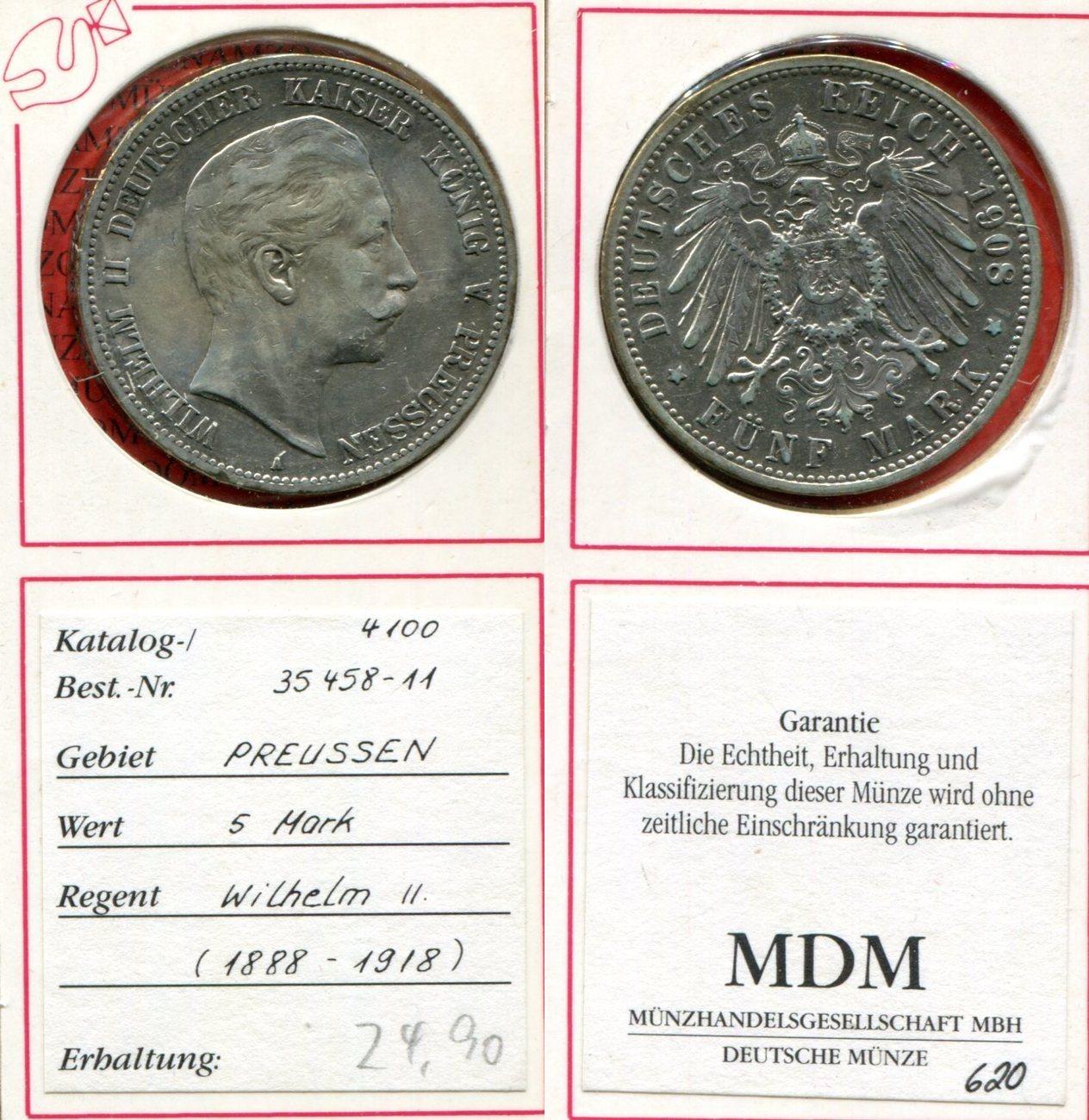 5 Mark Silber 1908 Brandenburg Preußen Deutsches Reich Preußen 5