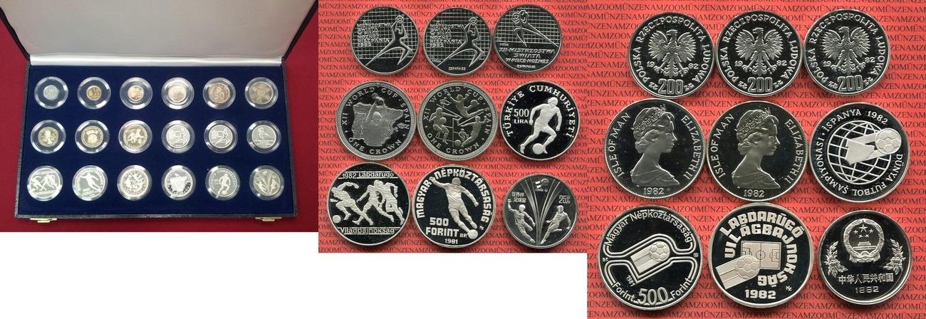 Set Von 18 Münzen 1982 Spanien Fußball Wm Fußball Set Zur Wm 1982 18