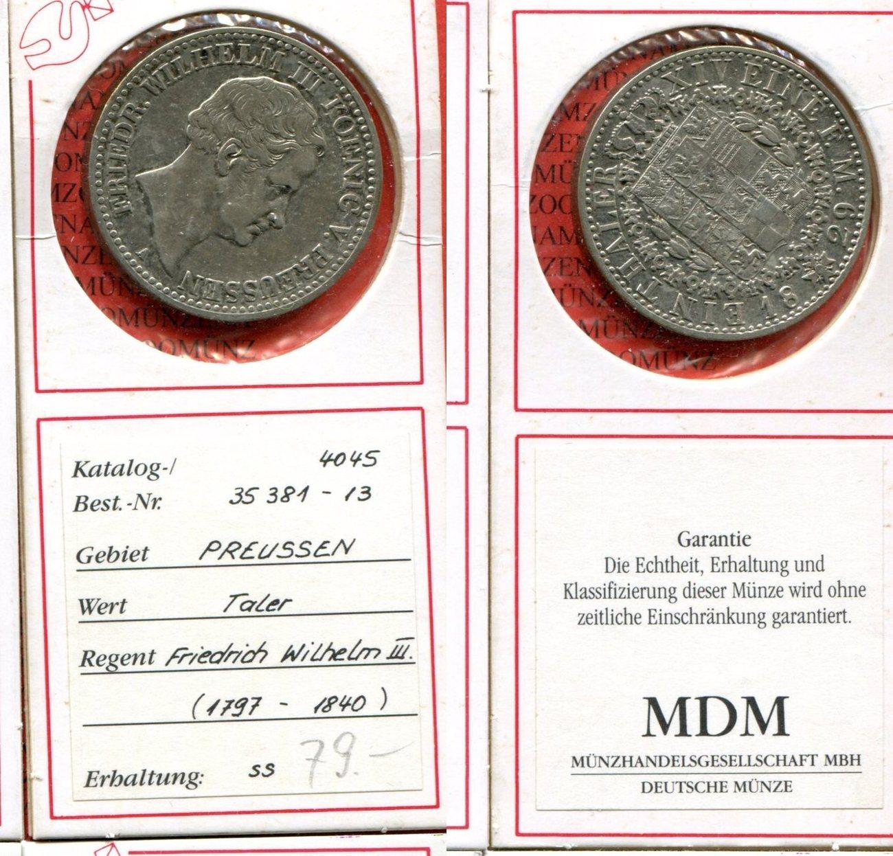 1 Taler Silber 1829 Brandenburg Preußen Deutsches Reich Preußen 1