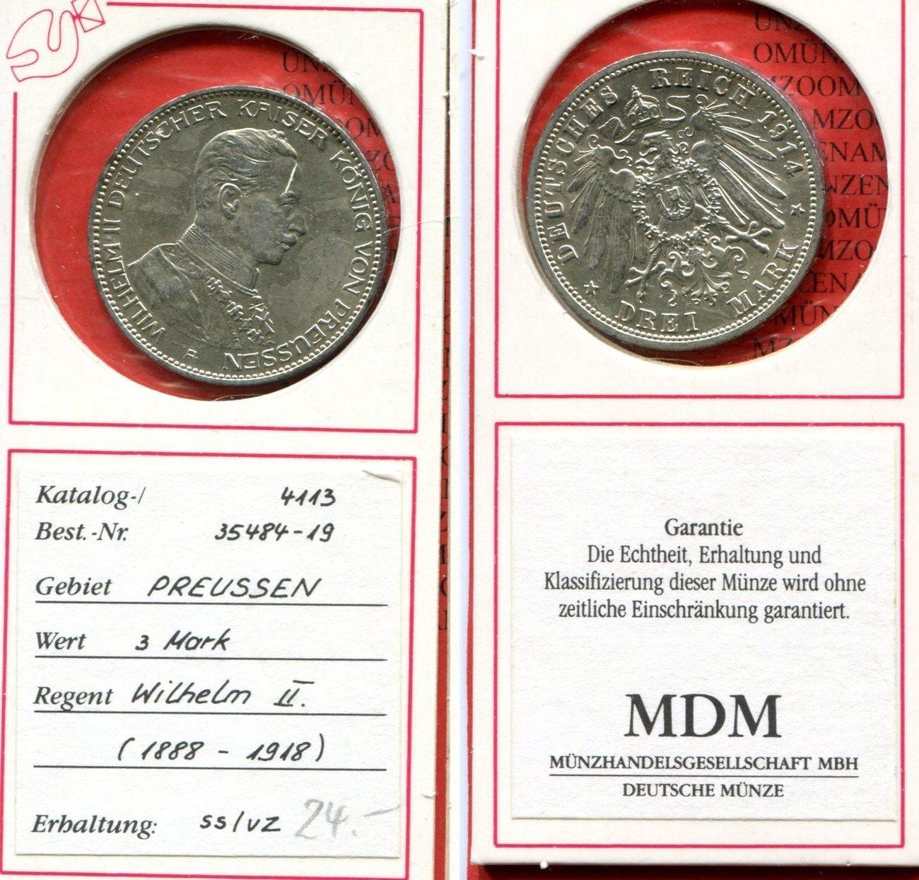 3 Mark Silber 1905 Brandenburg Preußen Deutsches Reich Preußen 1914