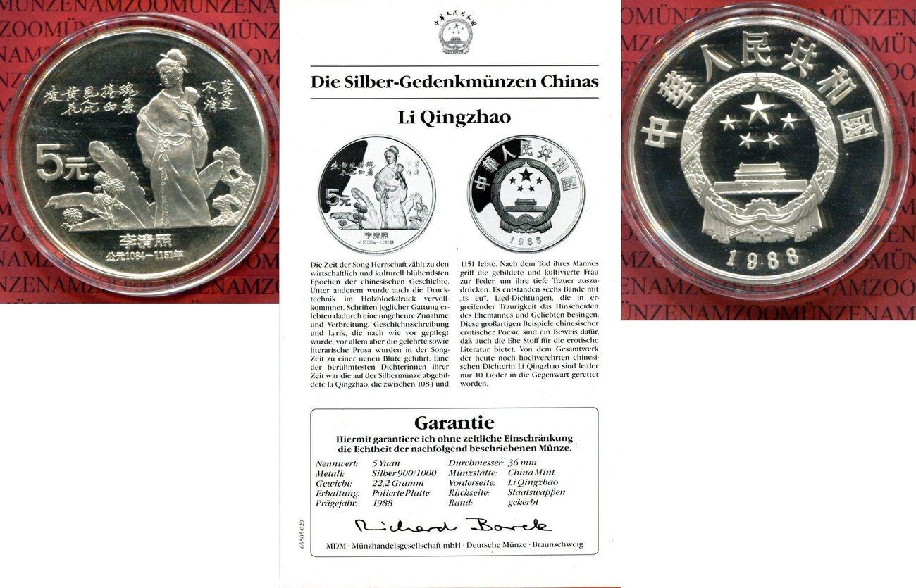 5 Yuan Silber 1988 China Gedenkmünze Li Qingzhao Pp In Kapsel Mit