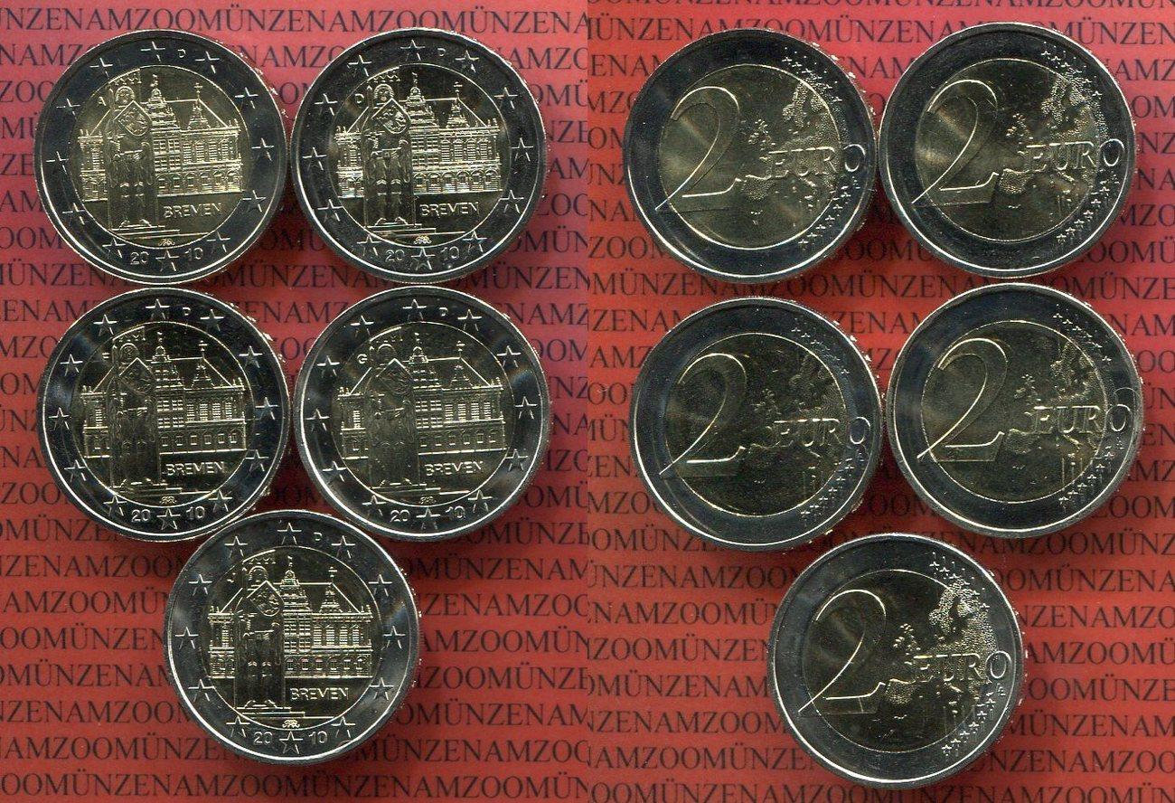 2 Euro Gedenkmünzenset 2010 Bundesrepublik Deutschland Brd 5 X 2