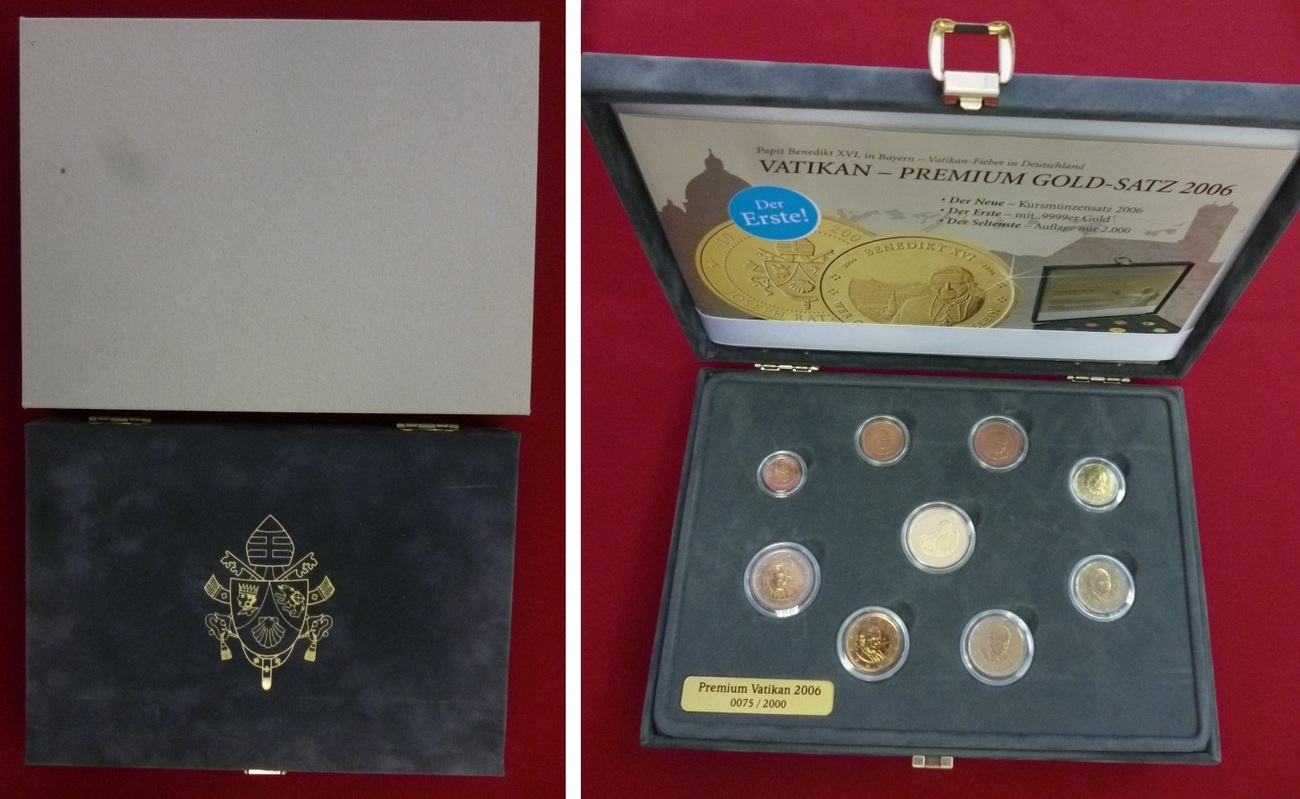 Kursmünzensatz Mit Goldmedaille 2006 Vatikan Papst Benedikt Xvi Vatikan Kursmünzensatz 2006 1 Cent Bis 2 Euro 8 Münzen Mit Goldmedaille