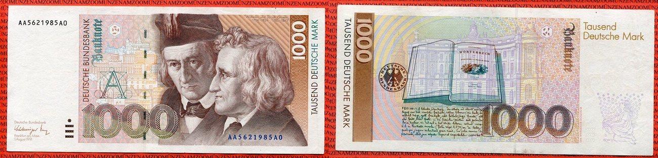 1000 Dm Deutsche Mark 1991 Bundesrepublik Deutschland Frg Germany