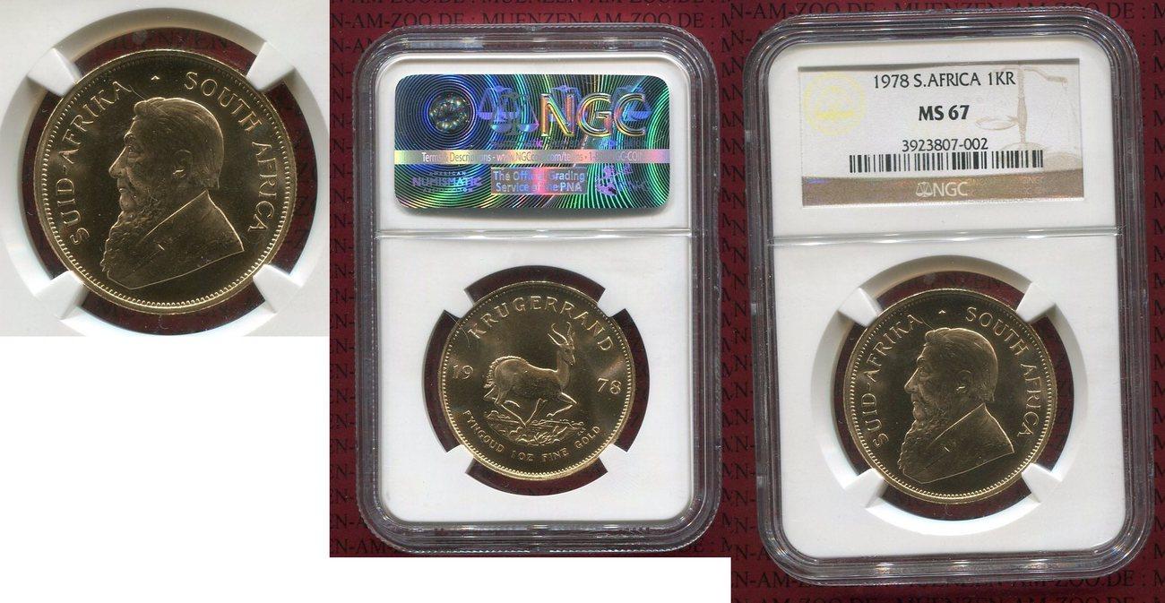 1 Unze Krügerrand Gold Südafrika, South Afrika Süd Afrika 1978 Krügerrand 1 Unze Krügerrand Stgl Top Polierter Stempel