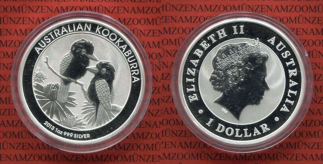 1 Dollar Silbermünze 2013 Australien, Australia Kookaburra