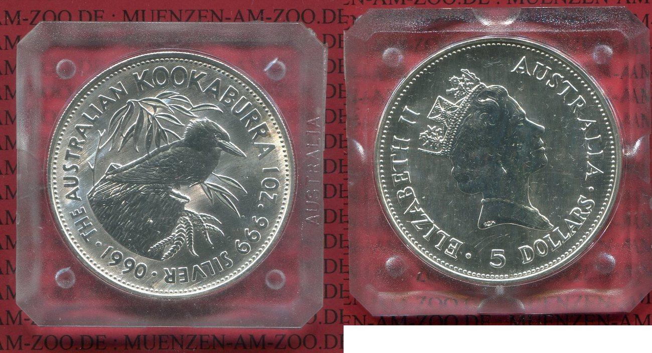 5 Dollar Silbermünze 1990 Australien Kookaburra Stempelglanz Mit