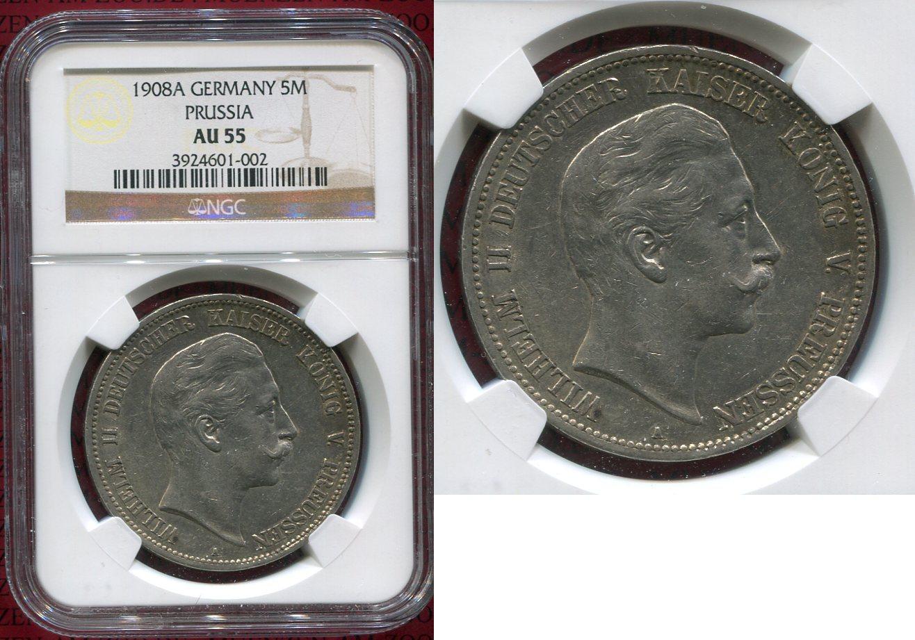 5 Mark Silbermünze 5m 1907 Preußen Preußen 5 Mark 1908 A Kursmünze