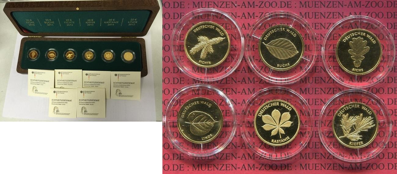 6 X 20 Euro Goldmünzen Je 18 Unze 2010 2015 Bundesrepublik