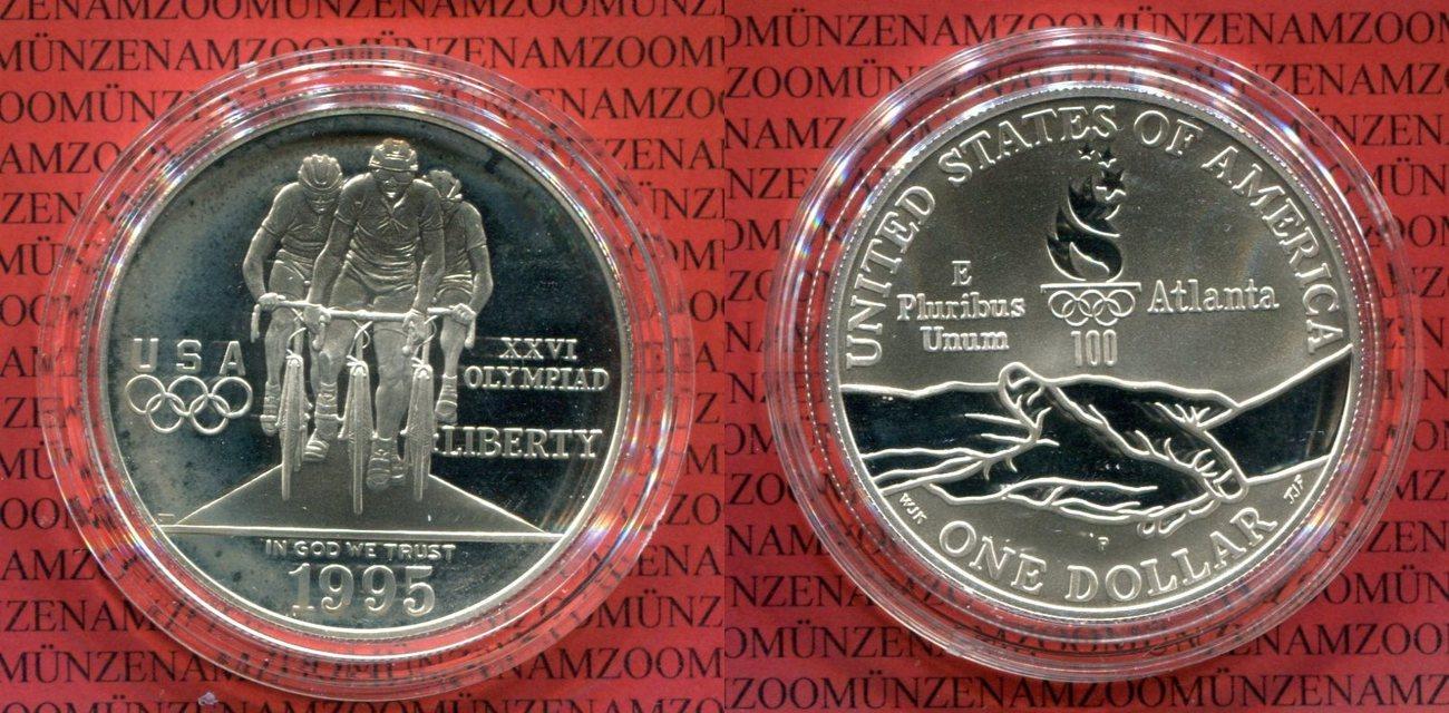 Usa 1 Dollar Silber 1995 Olympic Cycling Silver Dollar