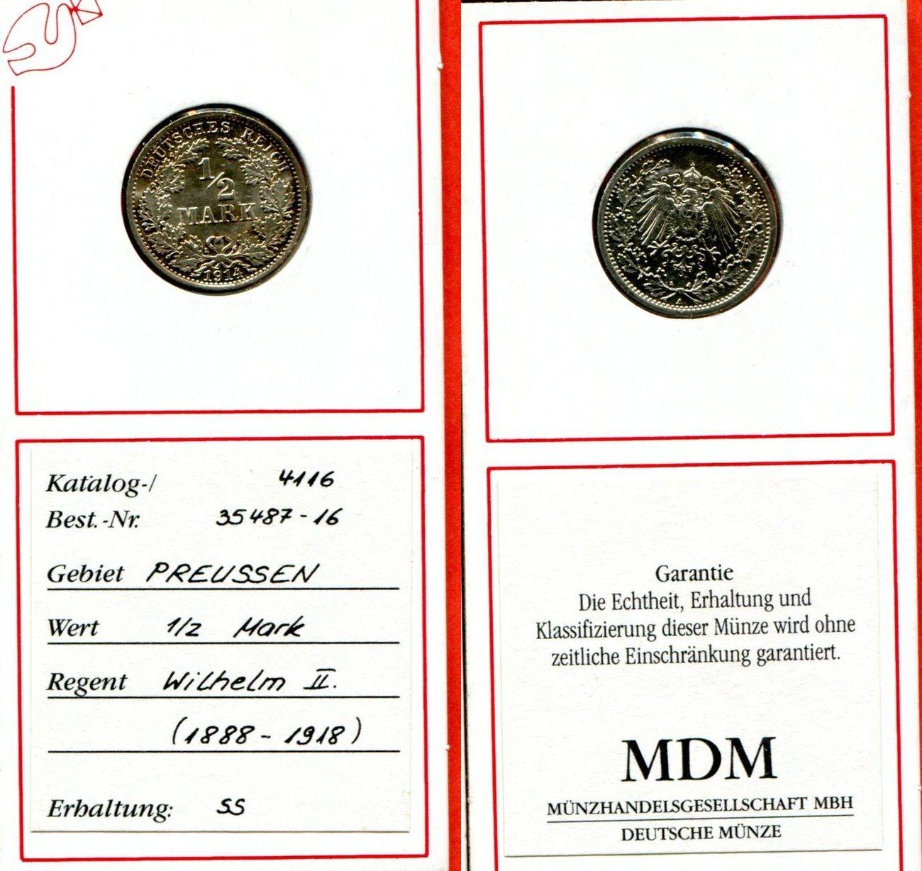 12 Mark Silber 1914 Brandenburg Preußen Deutsches Reich Preußen 12