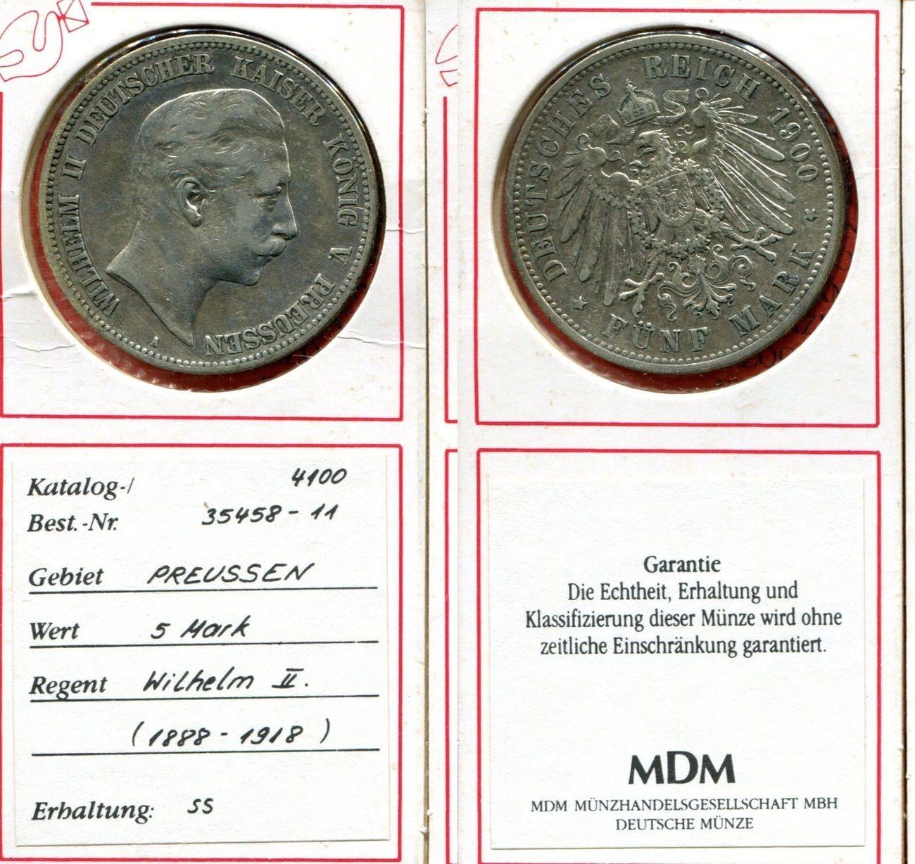5 Mark Silber 1900 Brandenburg Preußen Deutsches Reich Preußen 5