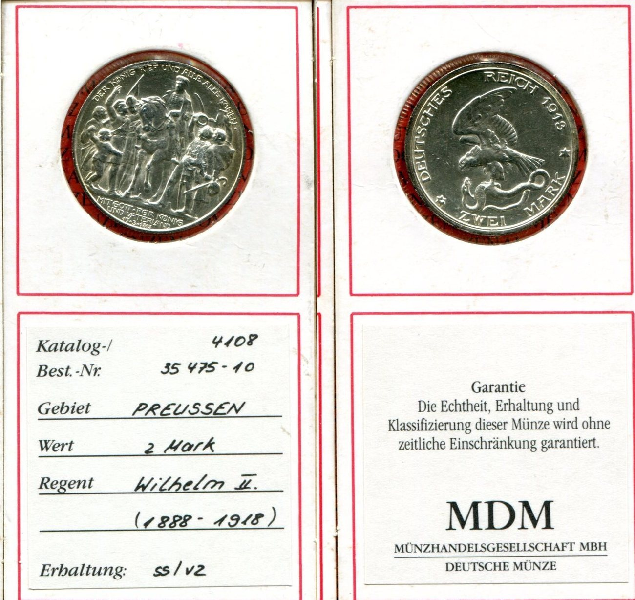2 Mark Silber 1913 Brandenburg Preußen Deutsches Reich Preußen 2