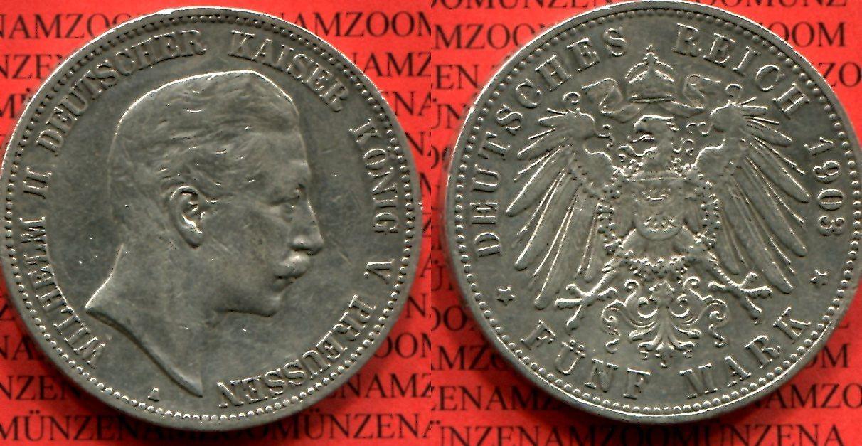 5 Mark Silber 1903 A Preußen Preußen 5 Mark Silber 1903 A Wilhelm Ii
