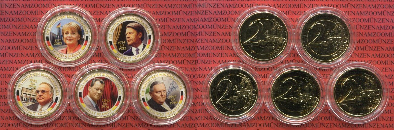 5 X 2 Euro Münzen Lot Oj Brd Angela Merkel Helmut Kohl Willy