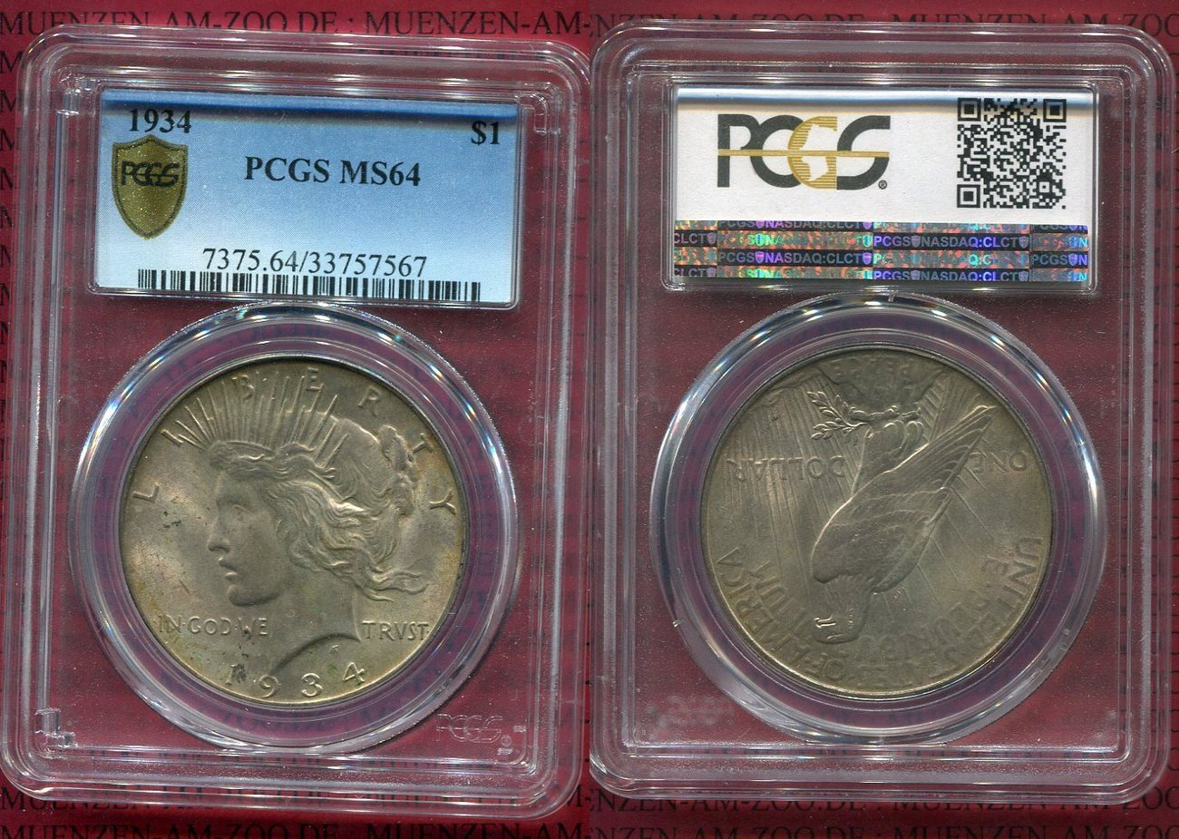 1 Dollar Silbermünze 1934 Usa Peace Typ